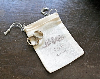 Personalized wedding ring bag, cotton ring bag, ring warming, ring bearer, ring pouch, woodland acorn, custom initials and wedding date