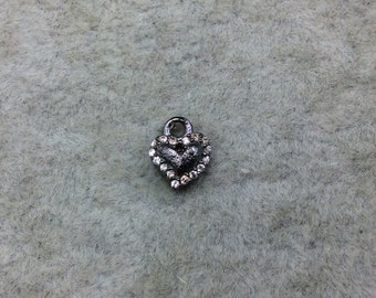 Tiny Gunmetal Finish Freeform Heart Shape CZ Cubic Zirconia Inlaid Plated Copper Pendant Component - Measures 6mm x 6mm  - Sold Individually