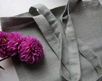 Mint Green Linen Bag - Linen Beach Bag - Shopping Bag