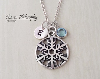 Unique Snowflake Necklace - Antique Silver Pewter Snowflake Charm - Personalized Initial and Birthstone