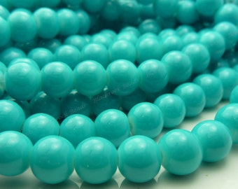 8mm Turquoise Blue Round Glass Beads - Smooth, Shiny Beads - 25pcs - BN11
