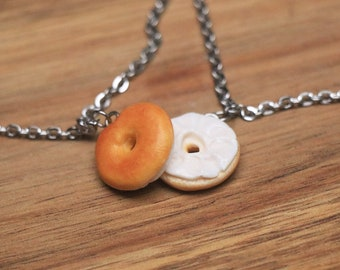 Bagel friendship Bracelets - Miniature Food Jewelry, bff Bracelets, Friendship Jewelry, birthday gift, Polymer Clay Food Bracelet