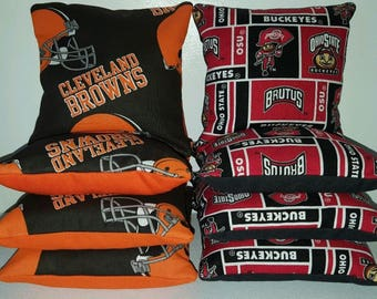 Set Of 8 Cleveland Browns Ohio State University Cornhole Bean Bags FREE SHIPPING