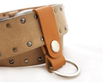 Genuine Leather keychain Belt Keychain Real Leather key holder Orange Leather key holder leather key case leather key chain Key fob