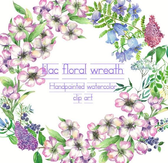 lila blumen kranz clipart lila florale elemente aquarell. Black Bedroom Furniture Sets. Home Design Ideas