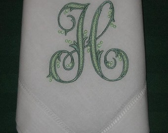 Personalized Linen hemstitched dinner napkins, Set of 12 with FREE shipping in the US