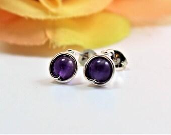 Amethyst Sterling Silver Stud Earrings - Stone Post Earrings -  February Birthstone Earrings - Handmade by Adonia Jewelry