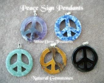 "Peace Sign Pendant ~ 1.25"" Sodolite Peace Sign ~ Tiger Eye Peace Sign ~ Black Ony Peace Sign ~ Genuine Gemstone ~ Gift Box"