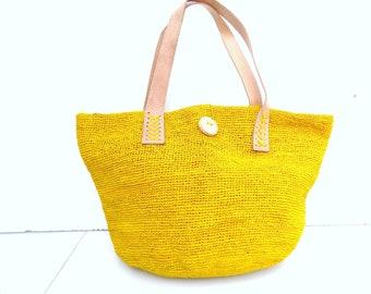 Straw bag, handbag, yellow, natural fibers, bag raffia Tote, city bag, beach bag, crochet bag, made hand/straw bag/raffia bag