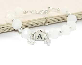 Girl's Christian Bracelet, Personalize with Letter Bead