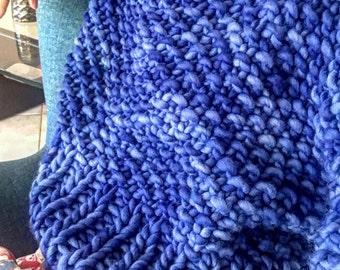 Handmade Chunky Woollen Knitted Jumper : Cornflower Blue