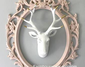 Pink Ornate Frame, Light Pink, Chalk Paint, Baby Shower Gift, Nursery Decor, Ornate Oval Frame, Baroque Frame, Shabby Chic Frame