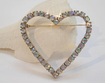 Pretty Vintage 1980's Iridescent Diamante Love Heart Brooch Pin Wedding