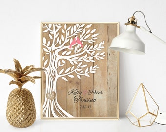 """Personalized Wedding Gift, Family Name, Newly Weds Gift Family Tree Art, Names Wedding Date, Print 11""""x14"""""""