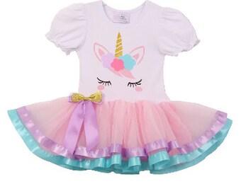 Unicorn Tutu Dress - (S-L/12M-6)