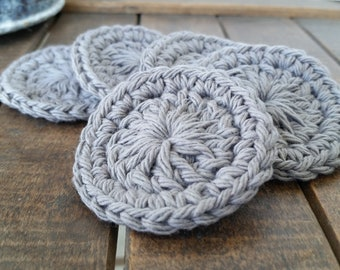 Crochet Gray Facial Scrubbies, Set of 5