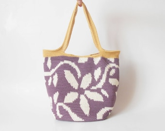 Crochet pattern for flower tote. Practice tapestry crochet to form a drawing. Charts with symbols, written instructions and images