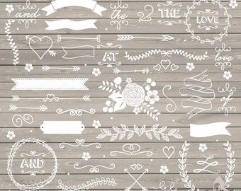 Wedding clipart, rustic clipart, shabby chic wedding, lace clipart, flower, arrows, laurel clipart, INSTANT DOWNLOAD