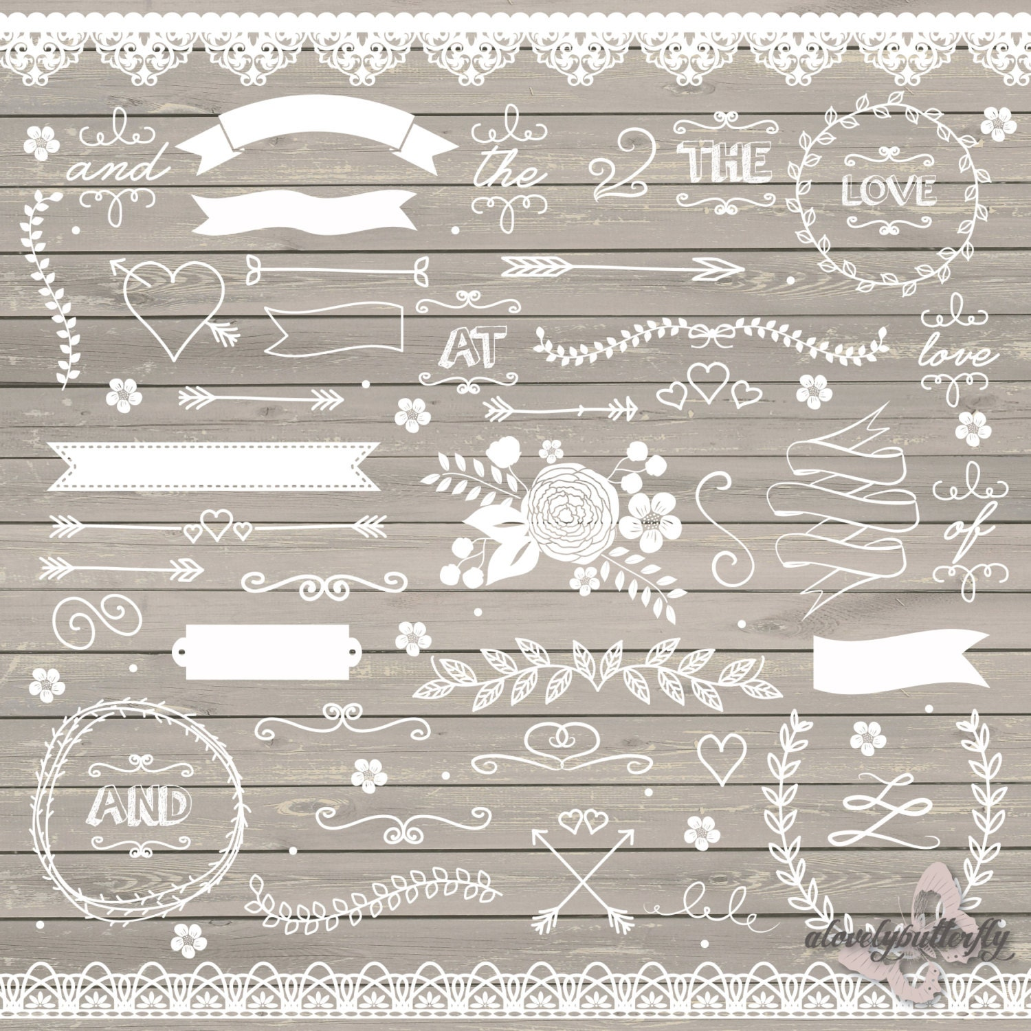 Wedding Clipart Rustic Shabby Chic Lace