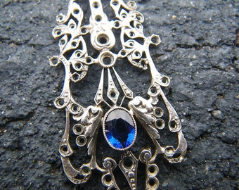 Antique Victorian Cornflower Blue filigree pendant