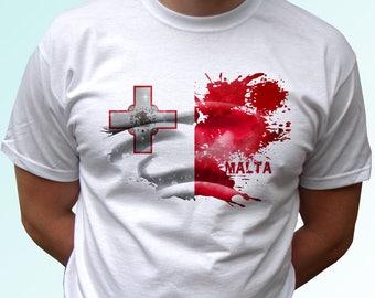Malta white t shirt top short sleeves - Mens, Womens, Kids, Baby - All Sizes!