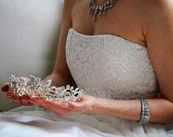 Silver bridal tiara crown Swarovski crystal tiara crown rhodium plated wedding crown diamante flower tiara. Florence.