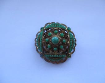 Czech Gold Tone Filligree Brooch with Green Glass Gemstones, Czech filligree pin, Czechoslovakian