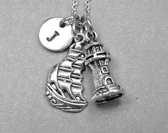 Galleon ship necklace, Lighthouse necklace, Lighthouse jewelry, boat necklace, initial necklace, personalized necklace, nautical jewelry