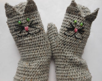 Hand Crocheted Mittens  Gloves Grey Tweed Cat Christmas Gift
