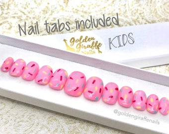 Kids | Doughnut Inspired | False Nails | Press On | Gel Nail Art