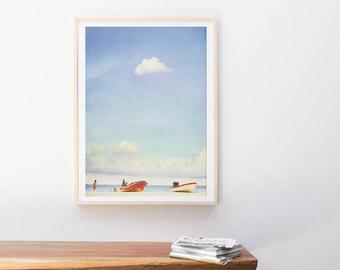 Photographie de la grande plage / / photographie de bord de mer océan / / grande échelle imprime / / grand Art mural / / Bleu Turquoise impression d'Art / / Playa del Carmen