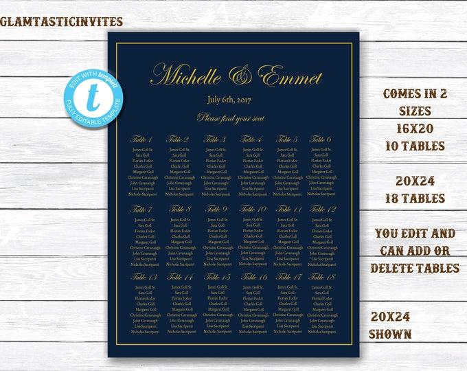 Wedding Seating Chart Template, Navy Wedding Seating Chart, Navy and Gold Seating Chart Template, Seating Board, YOU EDIT, Seating Template