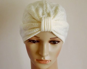 Women's turban hat, knitted handmade turban, winter hat, handmade turban for women, women's knitted hat, knitted from acrylic yarn