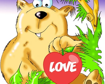 Valentines Day Teddy Bear, Bear, Valentine's Day Gift, Illustration, Decoration, Gift Idea, Poster, Digital Printable Art, Funny