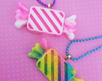 Kawaii Pink and Rainbow Candy Wrapper Pendants