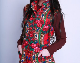 Floral Russian traditional Jacket with fleece lining, Woman Flowered Vest, Pavlovo posad ornament vest, Ethnic vest