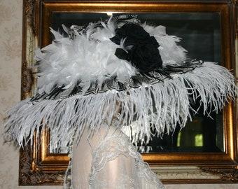 SPECIAL ORDER - Kentucky Derby Hat Ascot Hat Edwardian Hat - Contessa Donatella - Black & White Hat