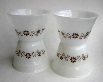 Brown Daisy Dynaware Custard Cups - set of 4