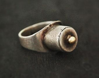 Tuareg Silver Ring with Golden Top - Size 8.5 - Tuareg Ring - Tuareg Protection Talisman Ring - Tuareg Jewelry - Tribal Ring - Medecine Ring