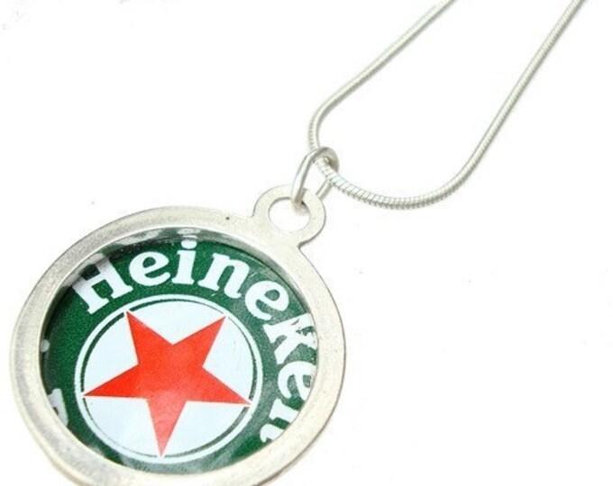 Beer Bottle Cap/ Sterling Silver Pendant