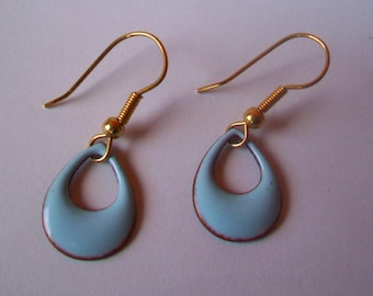 Robin's egg Blue Teardrop hoop dangle earring - enamel on copper