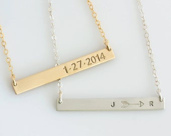 Gold Bar Necklace, Personalized Name Plate Necklace, Gift for Wife, Gift for Her, Personalized Skinny Bar Necklace, LEILAjewelryshop, N249