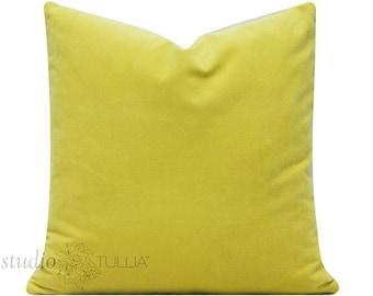 Velvet Pillow Cover  - citron - chartreuse - yellow green - cotton velvet - 20X20 - decorative pillow cover - ready to ship