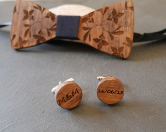 Alternative wedding Round wood cuff links  personalized with engraving, natural wooden cufflinks set with bow ties, handmade in France