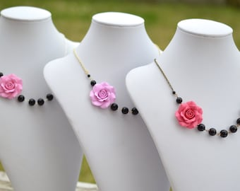 FREE EARRINGS, Pink Rose and Black Beads Asymmetrical Necklace. Pink and Black Flower Necklace.