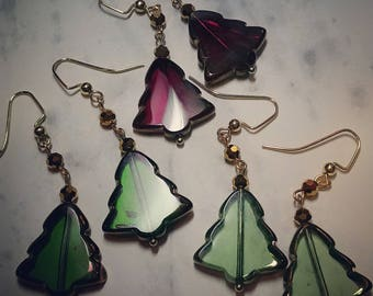 Festive Glass Christmas Tree Earrings