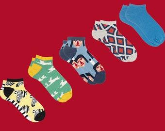 Sammy icône courtes chaussettes ensemble, chaussettes rayées, Animal chaussettes, chaussettes aztèque, géométrique chaussettes, chaussettes bleu pour les hommes et les femmes, chaussettes de l'été, chaussettes pour hommes