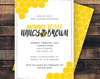 "Printable Mommy-to-Bee Baby Shower Invitation. 5""x7"" Bee and Honey theme. Honeycomb. Yellow and Black. Digital File for printing."