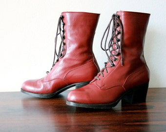 SALE! Vintage Victorian Boots, Lace-ups, Dark Cherry, Sz 5 US/Can, Eur sz 35, Assemblage, Display
