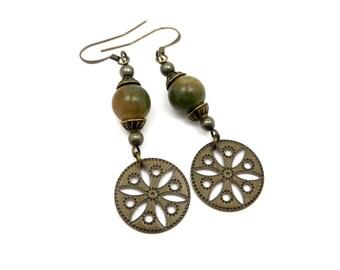 Earrings Bohemian earrings, green agate, pyrite, gem stones, brass bronze